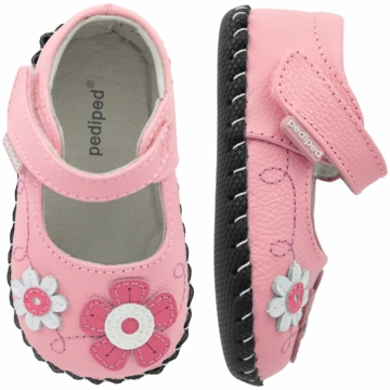 Pediped Sadie Pink Leather Mary Jane Shoes - Xtra Small (0 to 6 Months)
