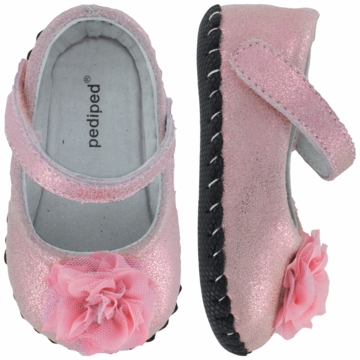 Pediped Stella Pink Leather Ballet Flats - Small (6 to 12 Months)