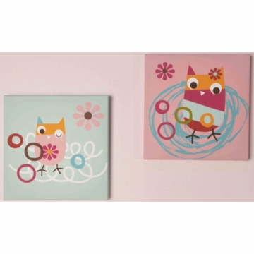 Kidsline Zutano Owls Canvas Wall Art - Set of 2