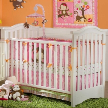 KidsLine Miss Monkey 4-Piece Crib Set W/ Bumper