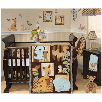 Lambs & Ivy Animal Antics 5 Piece Crib Bedding Set