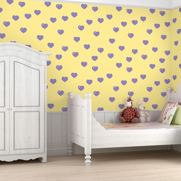 Wall Candy Butter with Lavender Hearts Peel-and-Stick Wallpaper - Full Kit