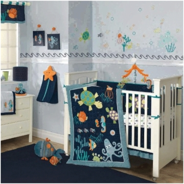 Lambs & Ivy Bubbles & Squirt 5 Piece Crib Bedding Set