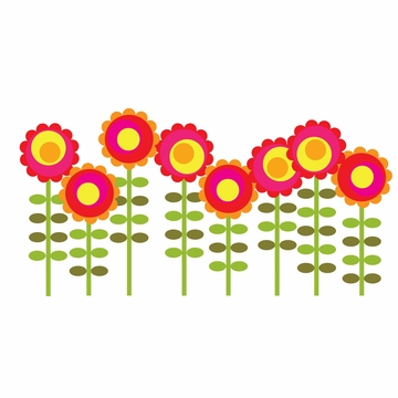 Wall Candy Happy Flowers Wall Decals