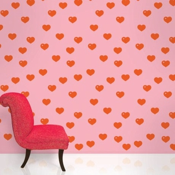 Wall Candy Pink with Red Hearts Peal and Stick Wallpaper - Full Kit