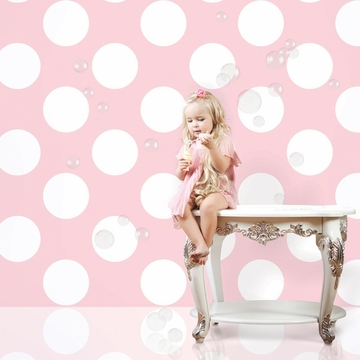 Wall Candy Polka Dot Pink Peel-and-Stick Wallpaper - Full Kit