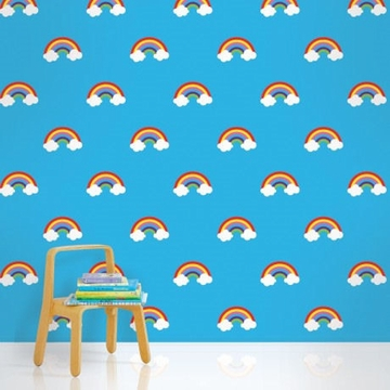 Wall Candy Rainbow Blue Peel-and-Stick Wallpaper - Half Kit