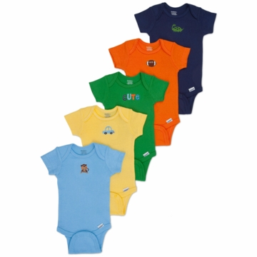 Gerber Boy 5 Pack Solid Onesies - Newborn
