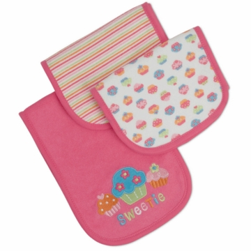 Gerber Girl 3 Pack Terry Burp Cloths - Little Sweetie