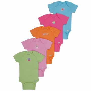 Gerber Girl 5 Pack Solid Onesies - Newborn