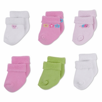 Gerber Girl 6 Pack Variety Socks - 3-6 Months