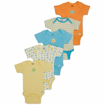 Gerber Neutral 5 Pack Solid Onesies - 6-9 Months