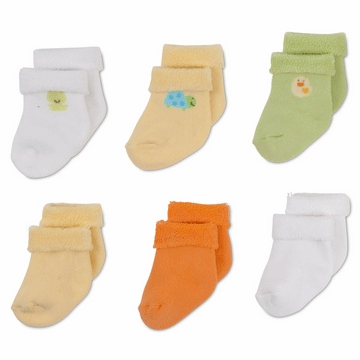 Gerber Neutral 6 Pack Variety Socks - 0-3 Months