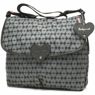 Babymel Satchel Diaper Bag in Black & Grey with Heart Print