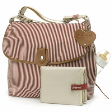 Babymel Satchel Stripe Diaper Bag in Red