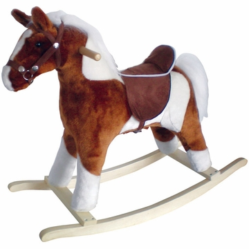 Charm Company Pinto Horse w/Brown Saddle