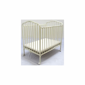 La Baby Metal Portable Crib in Vanilla