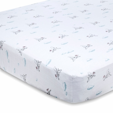 Aden + Anais 100% Cotton Muslin Crib Sheet - Liam the Brave (Flying Dog)
