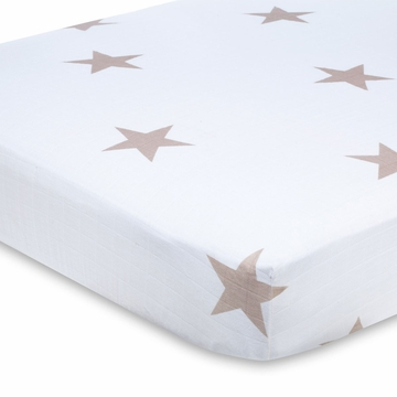 Aden + Anais 100% Cotton Muslin Crib Sheet - Super Star Scout (Fawn Stars)