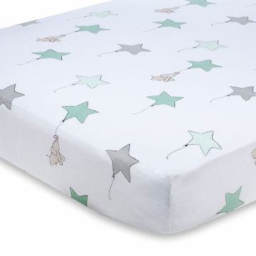 Aden + Anais 100% Cotton Muslin Crib Sheet - Up, Up, and Away