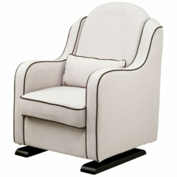 Babyletto Nara Glider - Ecru with Mocha Piping