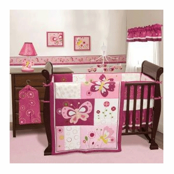 Bedtime Originals Pink Butterfly 3 Piece Crib Bedding Set