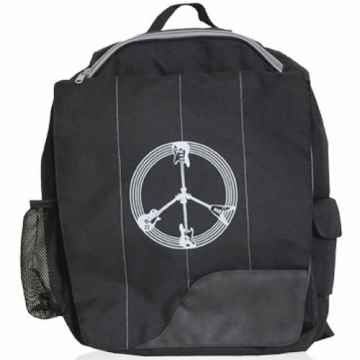 Diaper Dudes Little Dude School Backpack - Black Guitar Peace Sign