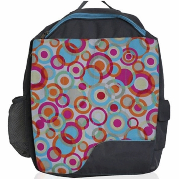 Diaper Dudes Little Diva School Backpack - Grey with Multi Color Dots