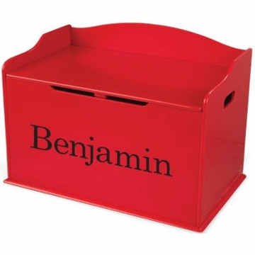 KidKraft Personalized  Austin Toy Box in Red
