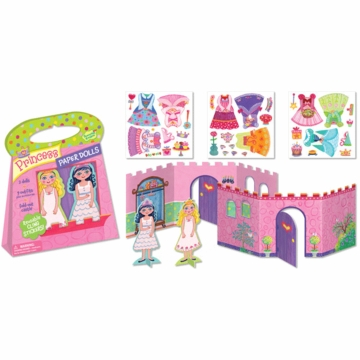 Peaceable Kingdom Princess Paper Dolls Reusable Sticker Tote