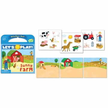 Peaceable Kingdom Lets Play! Sunny Farm Reusable Sticker Set