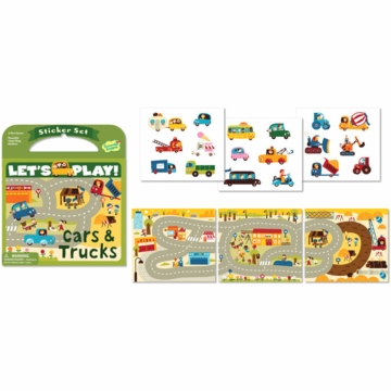Peaceable Kingdom Lets Play! Cars & Trucks Reusable Sticker Set