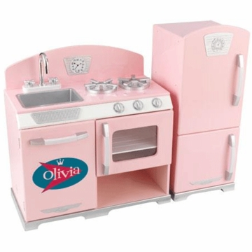 KidKraft Personalized  Pink Retro Kitchen & Refrigerator