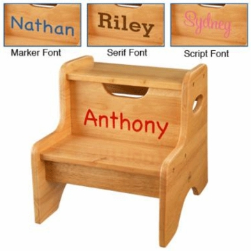 KidKraft Personalized  Two Step Stool Natural