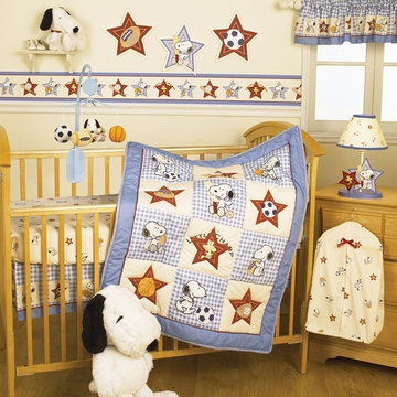 Bedtime Originals Champ Snoopy 3 Piece Crib Bedding Set