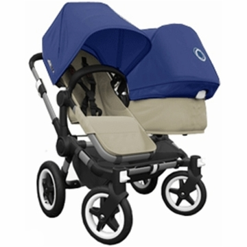 Bugaboo Donkey Compact Fold Duo Stroller in Sand/Royal Blue