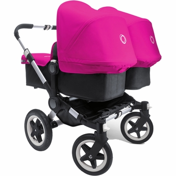 Bugaboo Donkey Compact Fold Twin Stroller in Black/Pink