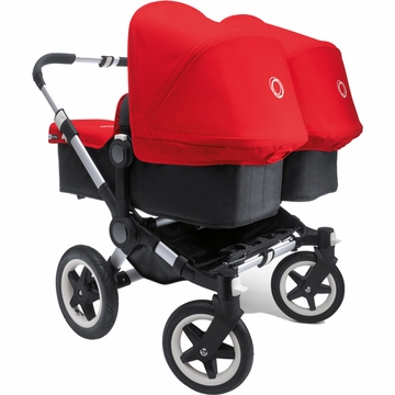 Bugaboo Donkey Compact Fold Twin Stroller in Black/Red