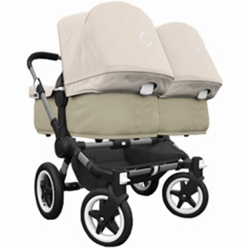 Bugaboo Donkey Compact Fold Twin Stroller in Sand/Off-White
