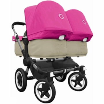 Bugaboo Donkey Compact Fold Twin Stroller in Sand/Pink