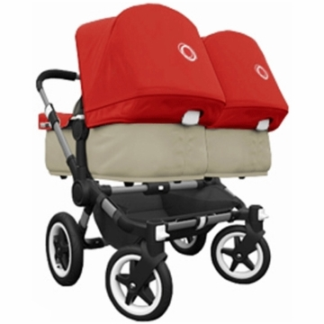 Bugaboo Donkey Compact Fold Twin Stroller in Sand/Red