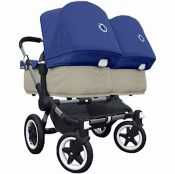 Bugaboo Donkey Compact Fold Twin Stroller in Sand/Royal Blue