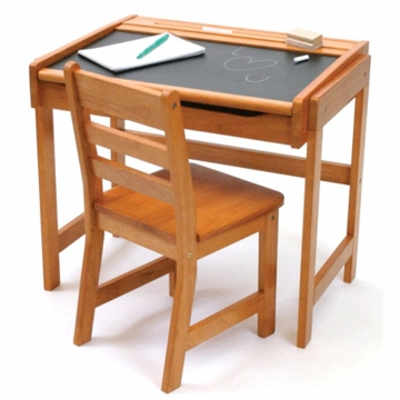 Lipper International Childs' Chalkboard Desk & Chair Set in Pecan