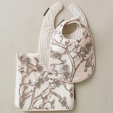 DwellStudio Vintage Blossom Blush 2 Bibs/Burp Set