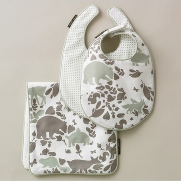 DwellStudio Woodland Tumble Mocha 2 Bibs/Burp Set