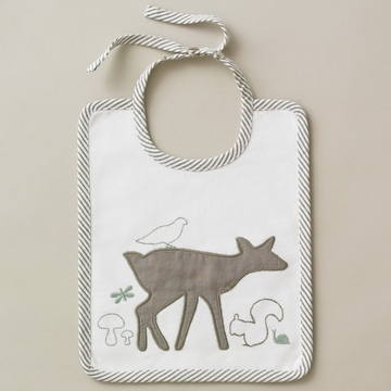 DwellStudio Woodland Tumble Mocha Embroidered Bib