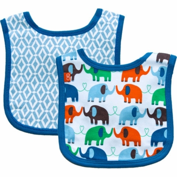 Magnificent Baby Boy's Elephant On Parade/El Marrakesh Reversible Bib - 6 to 12 Months