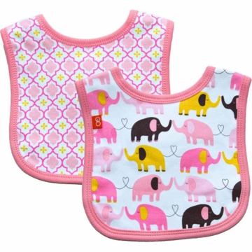Magnificent Baby Girl's Elephant On Parade/El Marrakesh Reversible Bib - 6 to 12 Months