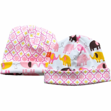 Magnificent Baby Girl's Elephant On Parade/El Marrakesh Reversible Hat - 0 to 12 Months