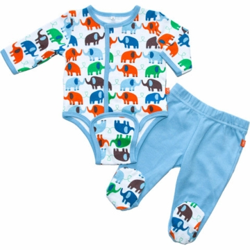 Magnificent Baby Boy's Elephants On Parade Burrito Pant Set - Newborn to 3 Months